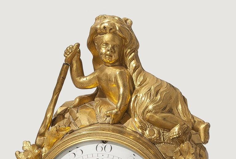 Louis XV Lion Mantle Clock Gilded Bronze, circa 1770 In Excellent Condition For Sale In Berlin, DE