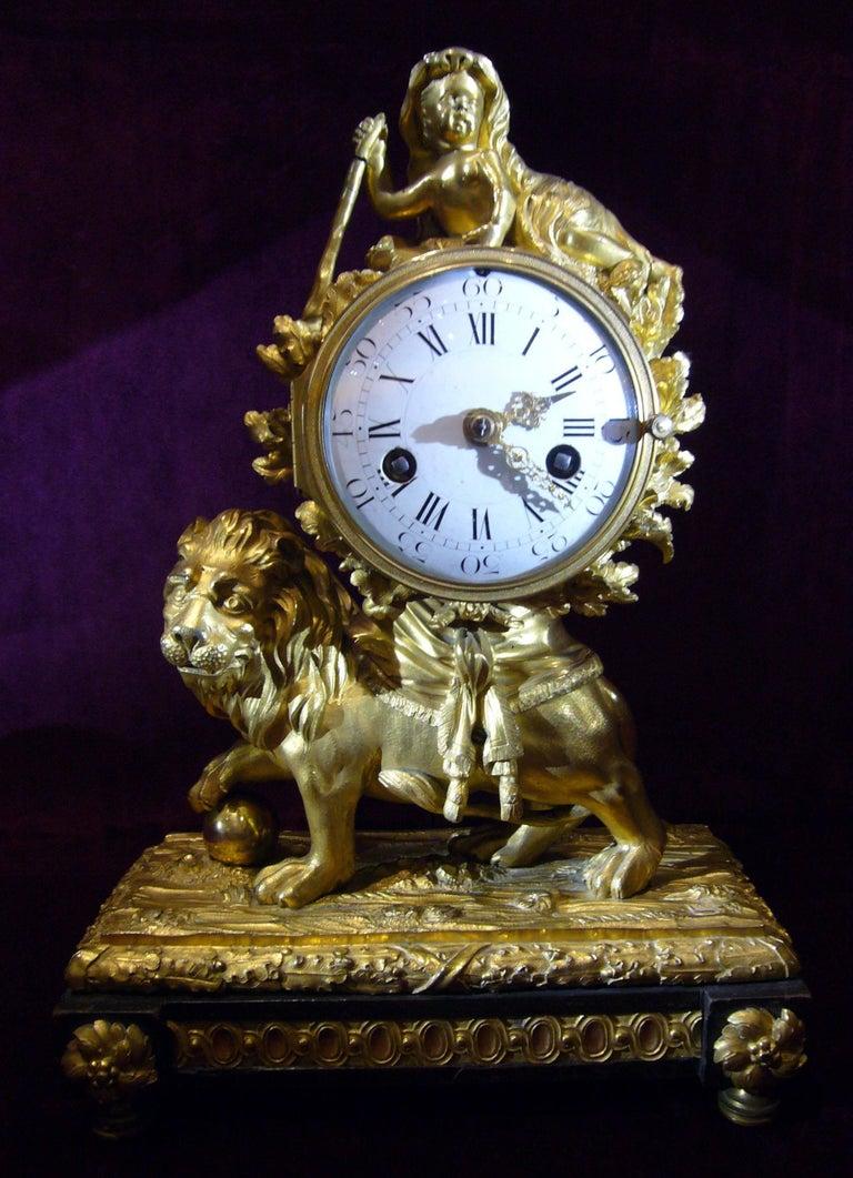 Women's or Men's Louis XV Lion Mantle Clock Gilded Bronze, circa 1770 For Sale