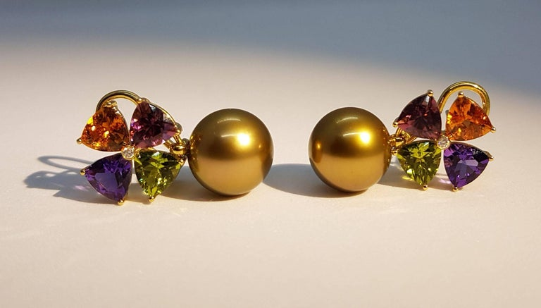Women's Tourmaline Mandarin Garnet Peridot Amethyst Diamond Golden Tahiti Pearl Earrings For Sale