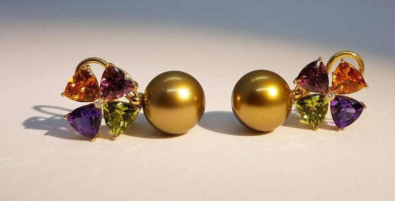 Tourmaline Mandarin Garnet Peridot Amethyst Diamond Golden Tahiti Pearl Earrings For Sale 1