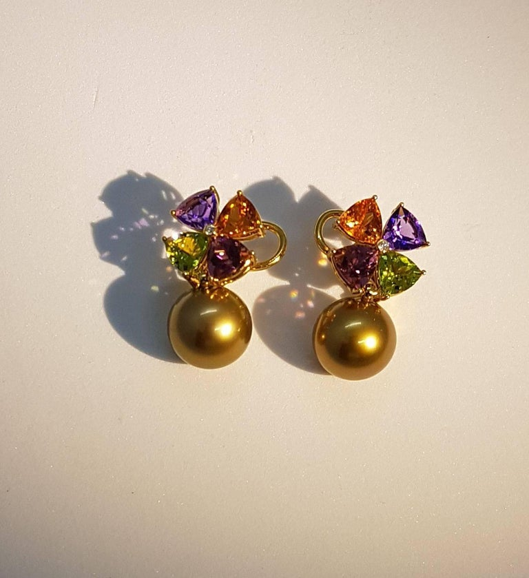 Tourmaline Mandarin Garnet Peridot Amethyst Diamond Golden Tahiti Pearl Earrings For Sale 2
