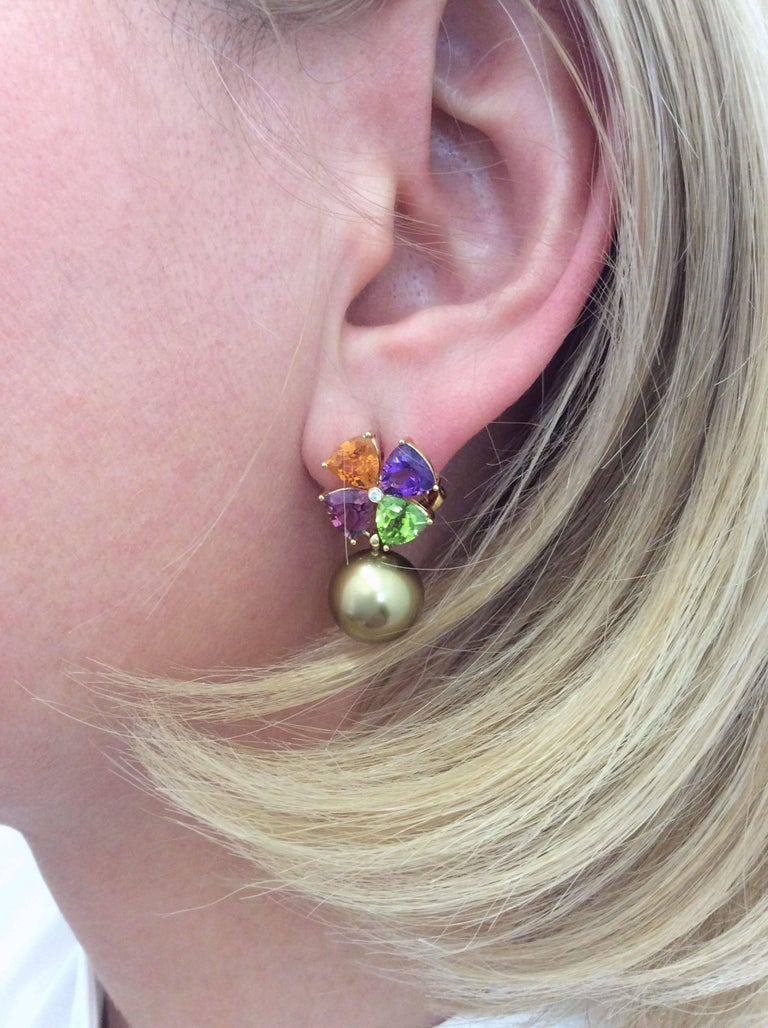 Tourmaline Mandarin Garnet Peridot Amethyst Diamond Golden Tahiti Pearl Earrings For Sale 3