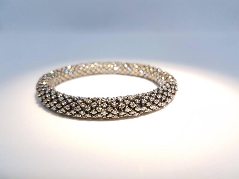 Modern Brown Diamond White Gold Flexible Bracelet For Sale