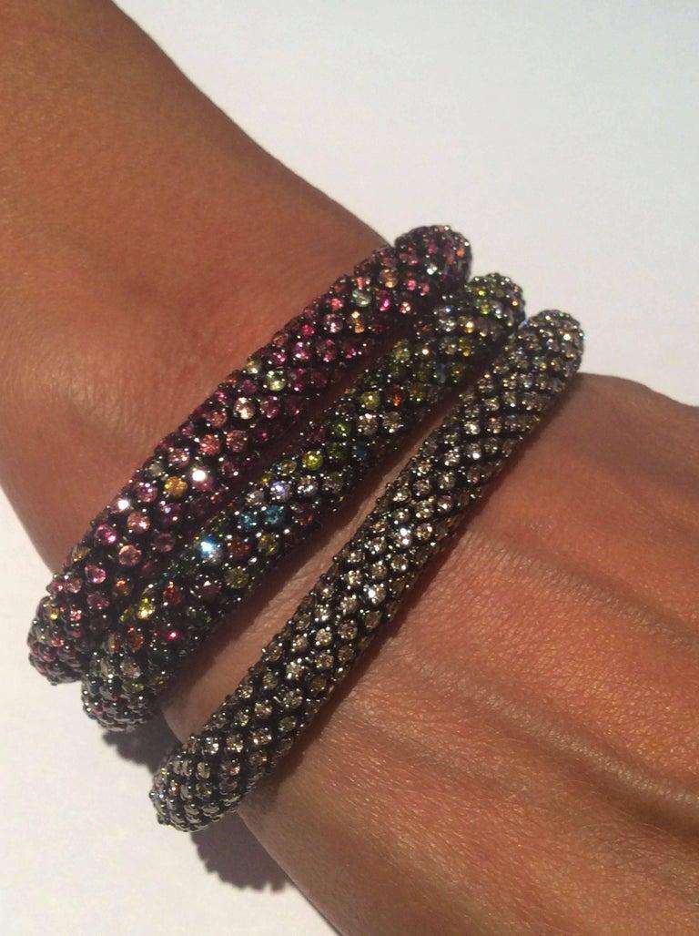 Women's Brown Diamond White Gold Flexible Bracelet For Sale