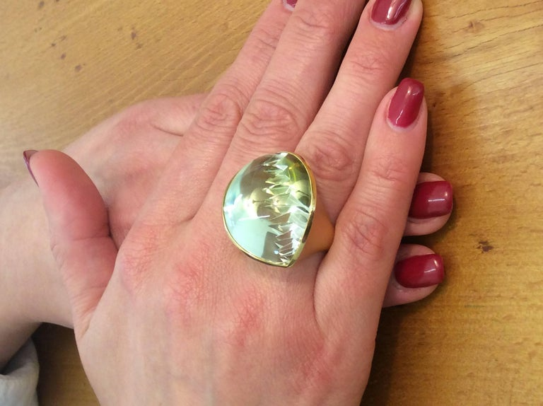 Modern 56.86 Carat Lime-Green Tourmaline Gold Ring