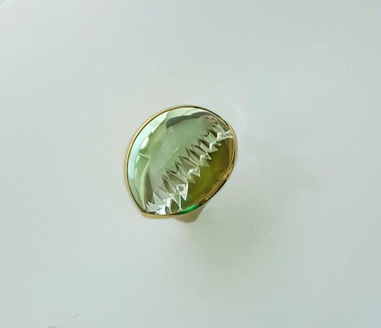 56.86 Carat Lime-Green Tourmaline Gold Ring