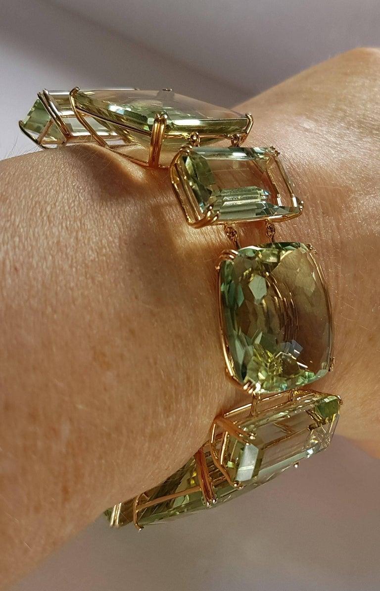 Modern Prasiolite Rose Gold Link Bracelet For Sale