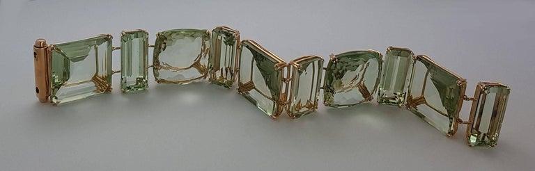 Prasiolite Rose Gold Link Bracelet In New Condition For Sale In Berlin, DE