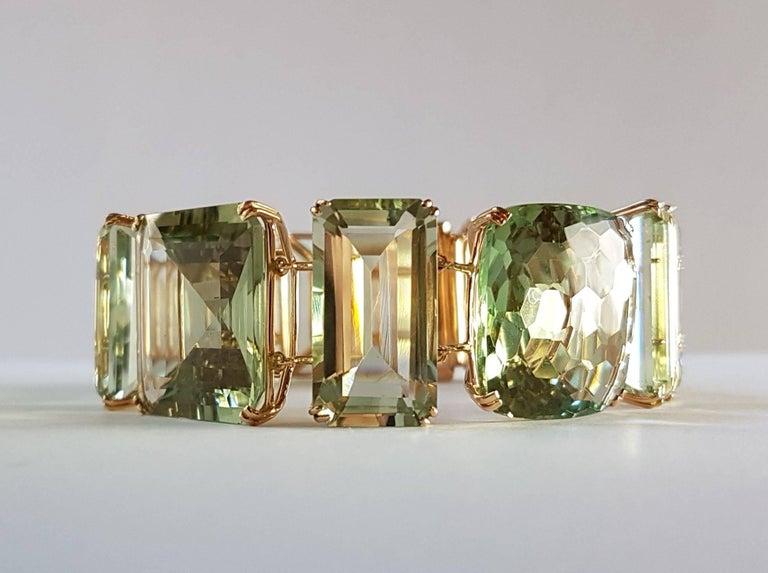 Women's Prasiolite Rose Gold Link Bracelet For Sale