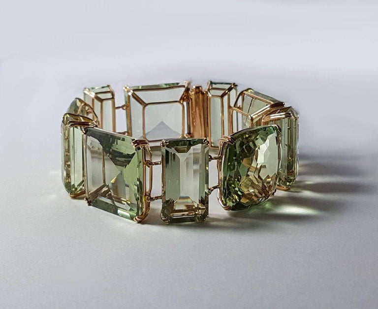 Prasiolite Rose Gold Link Bracelet For Sale 1