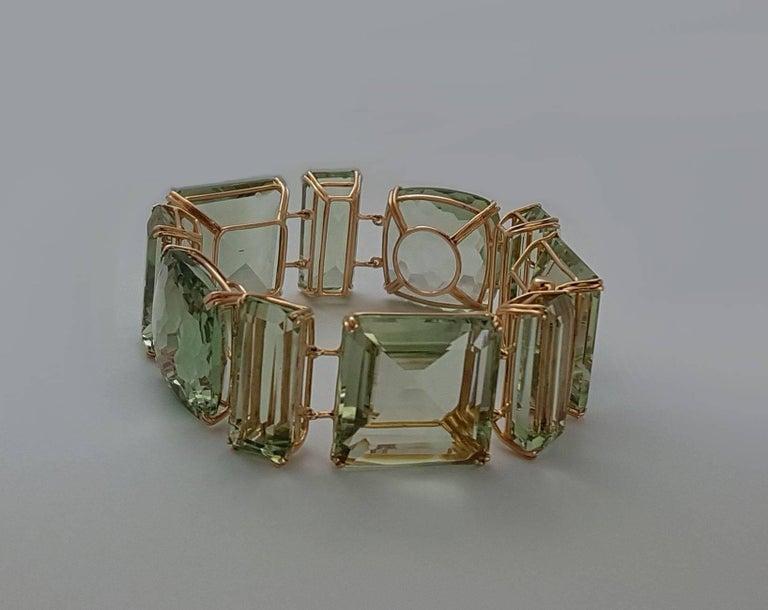 Prasiolite Rose Gold Link Bracelet For Sale 2