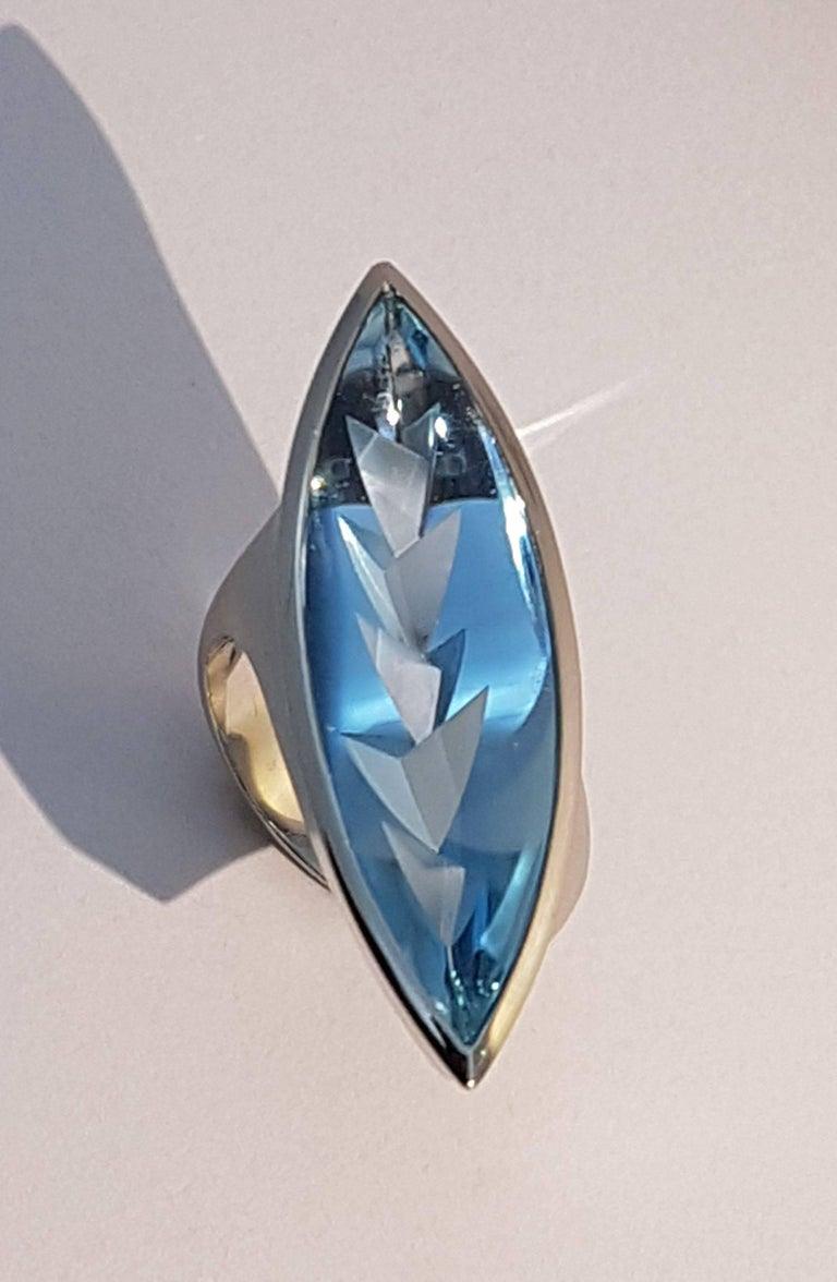 Modern Aquamarine Platinum Ring Atelier Munsteiner For Sale