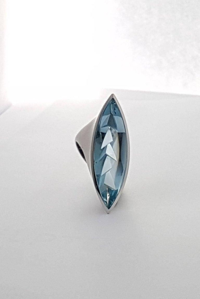 Aquamarine Platinum Ring Atelier Munsteiner For Sale 2