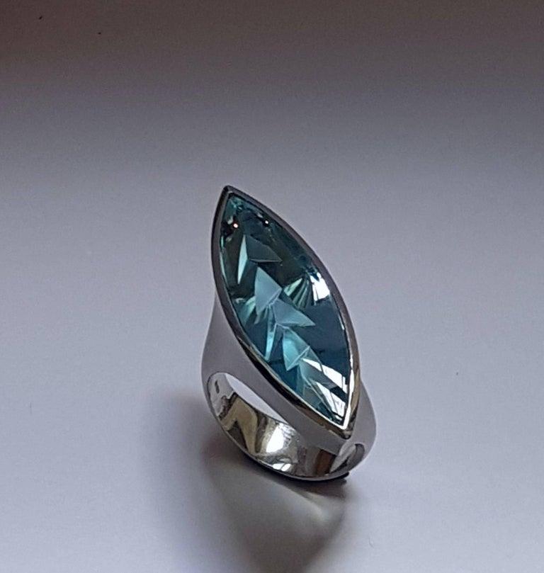 Aquamarine Platinum Ring Atelier Munsteiner For Sale 3