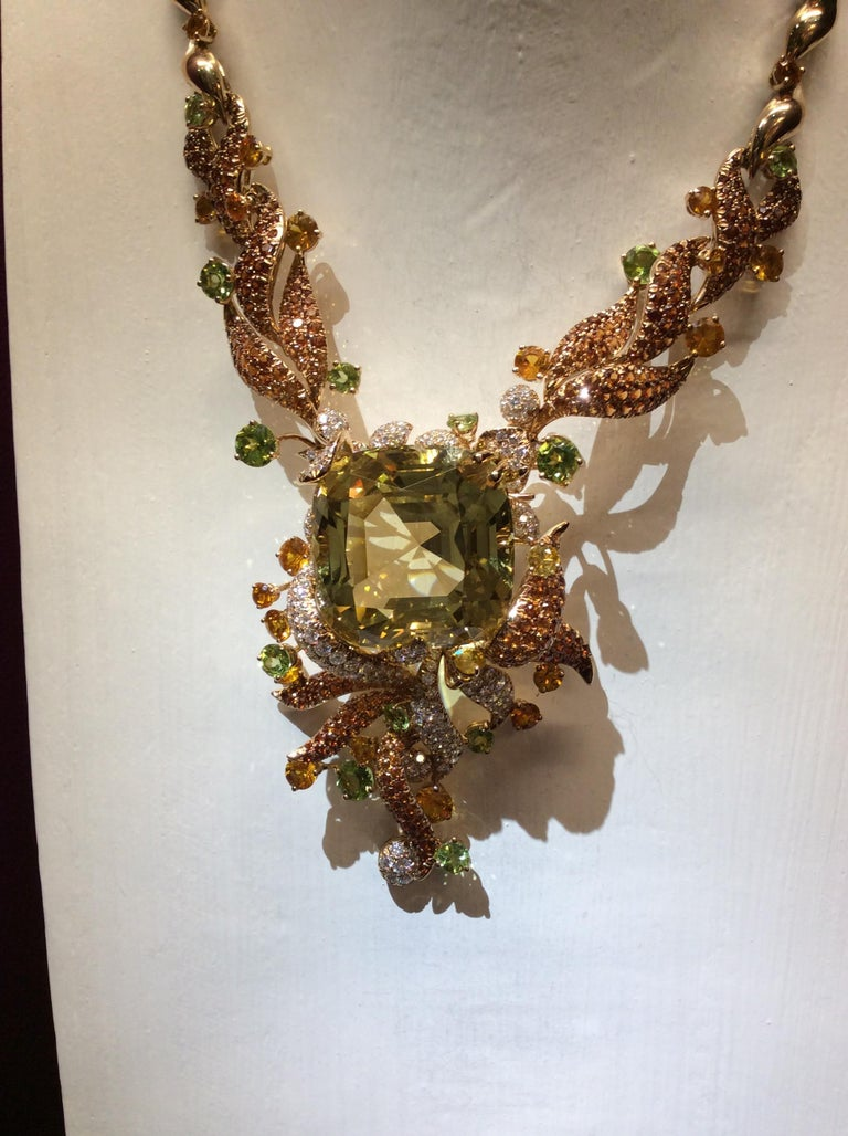 Women's Heliodor Diamond Spassartite Peridot Yellow Sapphire Gold Necklace
