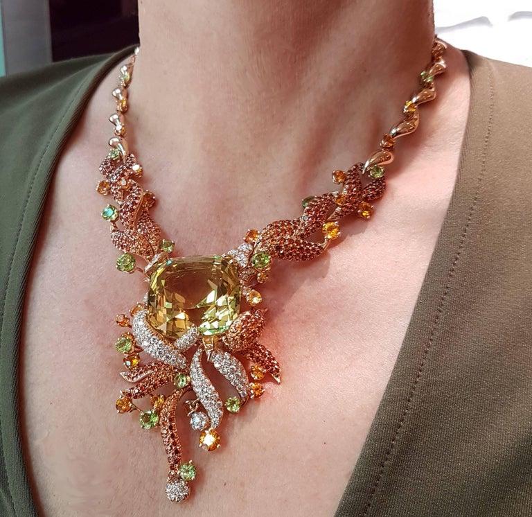 Modern Heliodor Diamond Spassartite Peridot Yellow Sapphire Gold Necklace