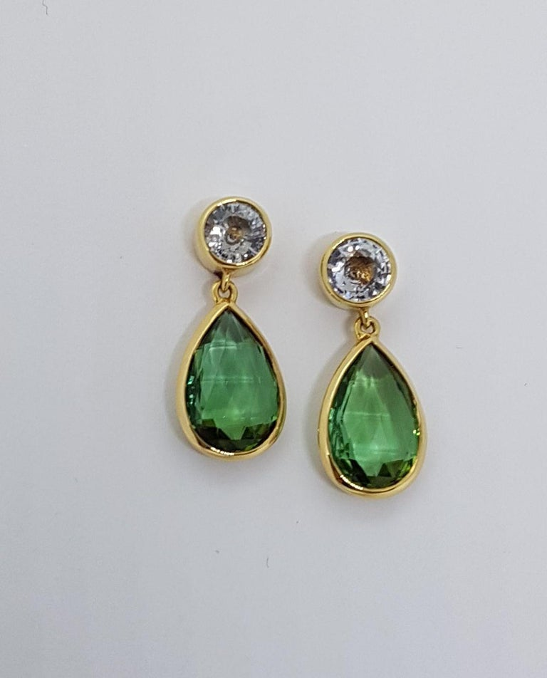 Modern Tourmaline Sapphire Gold Earrings Wagner Collection For Sale