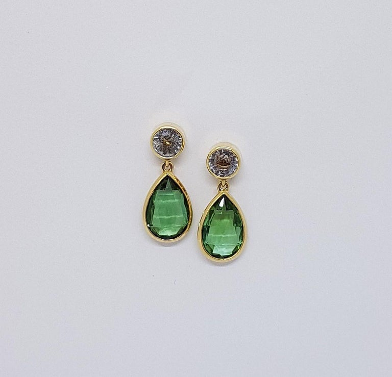 Tourmaline Sapphire Gold Earrings Wagner Collection For Sale 1
