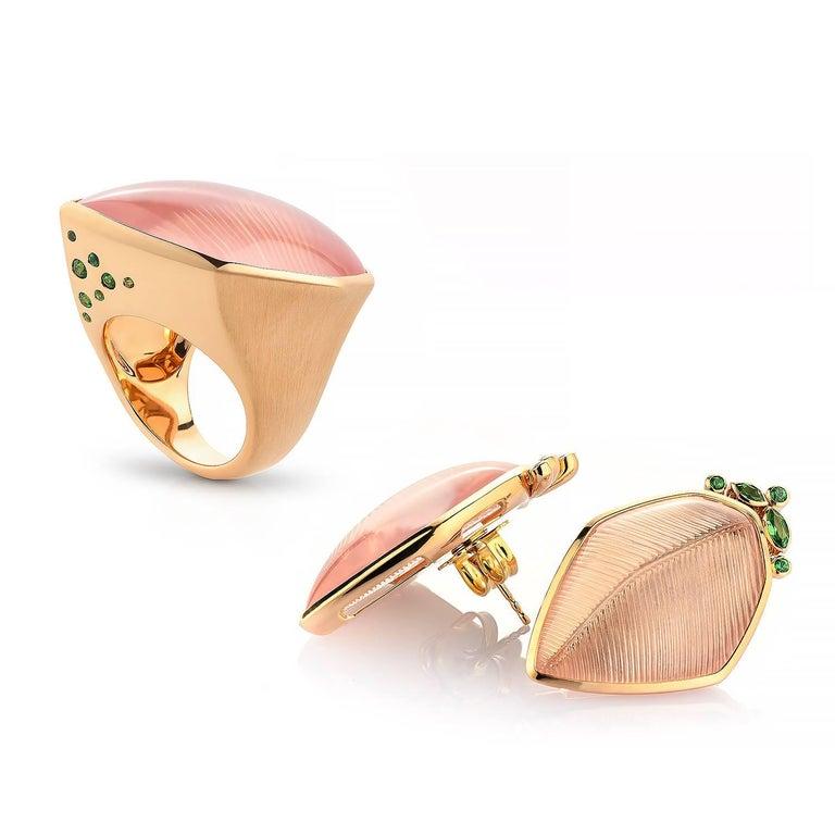 Women's Rose Quartz Tsavorite Gold Leaf Wagner Collection Stud Earrings For Sale