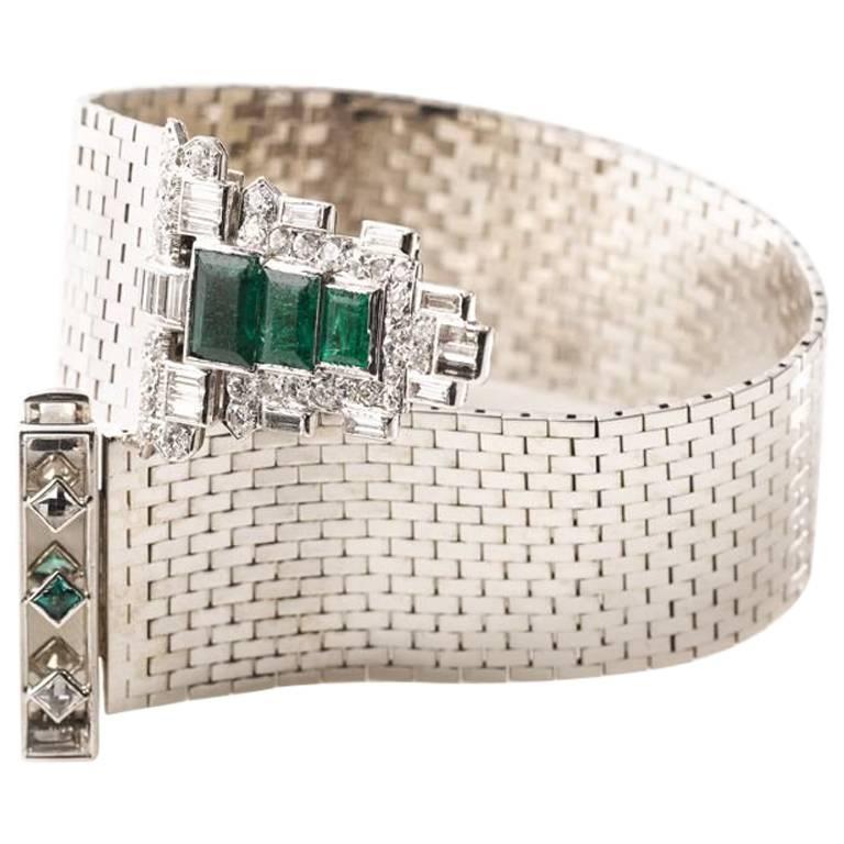 Trabert & Hoeffer Mauboussin White Gold Bracelet Detachable Emerald-Diamond Clip For Sale