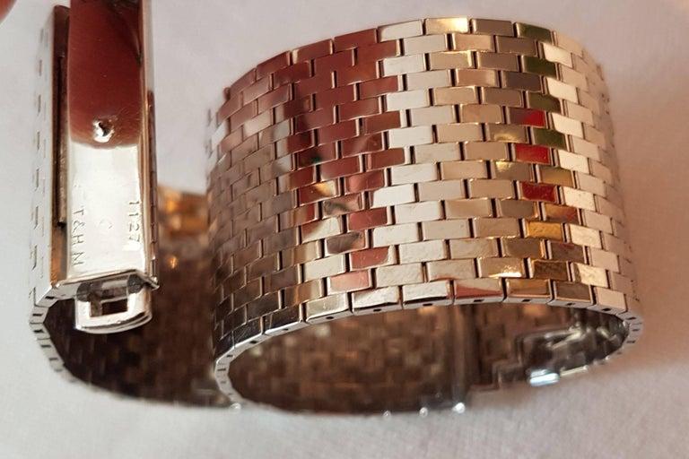 Emerald Cut Trabert & Hoeffer Mauboussin White Gold Bracelet Detachable Emerald-Diamond Clip For Sale