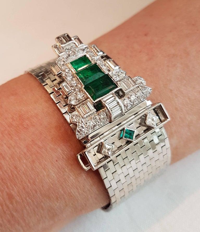 Trabert & Hoeffer Mauboussin White Gold Bracelet Detachable Emerald-Diamond Clip In Good Condition For Sale In Berlin, DE