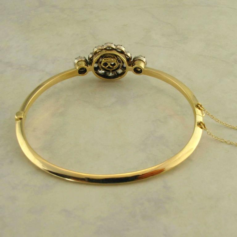 Antique Sapphire Diamond Silver Yellow Gold Bracelet In Good Condition For Sale In Kennebunkport, ME