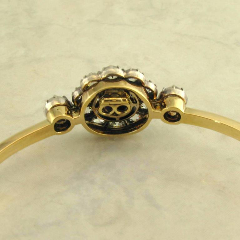 Women's Antique Sapphire Diamond Silver Yellow Gold Bracelet For Sale
