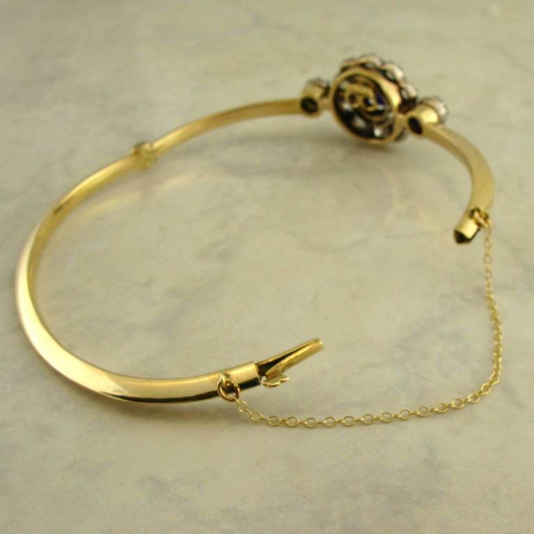 Antique Sapphire Diamond Silver Yellow Gold Bracelet For Sale 1