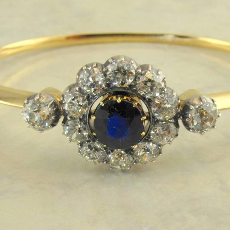 Victorian Antique Sapphire Diamond Silver Yellow Gold Bracelet For Sale