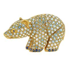 Jean Vitau Aquamarine Sapphire Diamond Yellow Gold Brooch