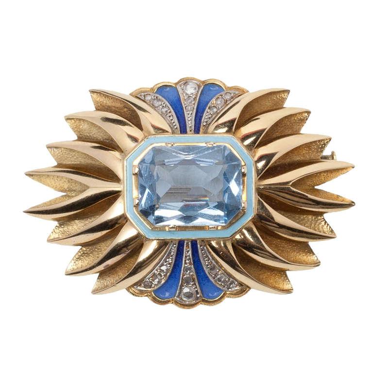 Catalan Art Deco Enamel Blue Spinel Diamond Gold Brooch at ...