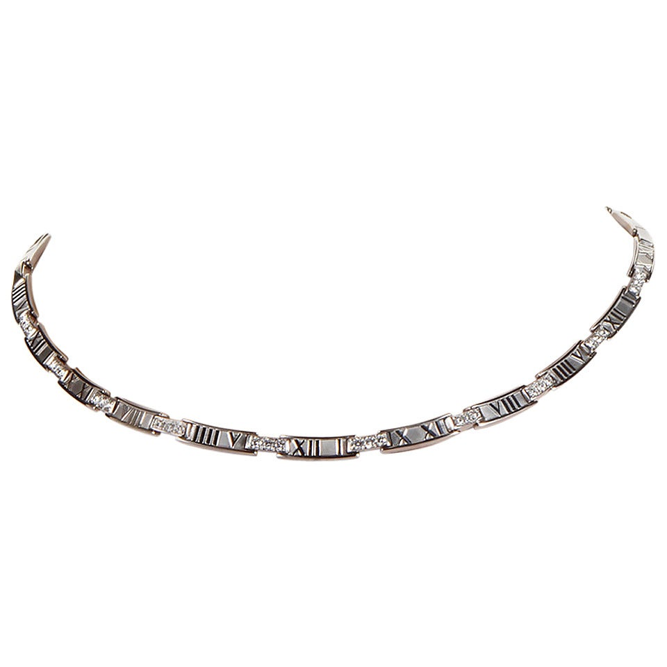 Tiffany & Co. Atlas Diamond White Gold Collar Necklace