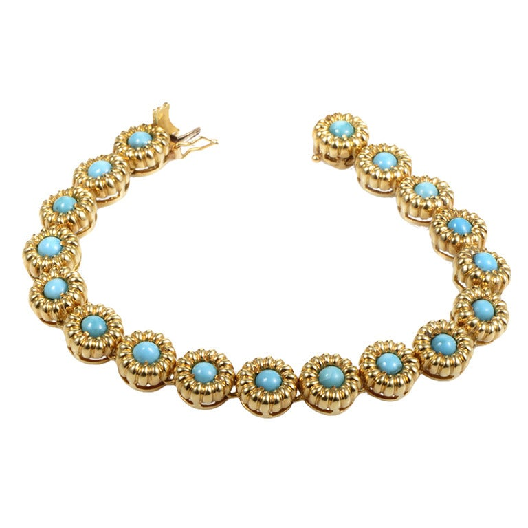 Tiffany And Co Turquoise Gold Flower Bracelet At 1stdibs