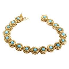 Tiffany & Co. Turquoise Gold Flower Bracelet