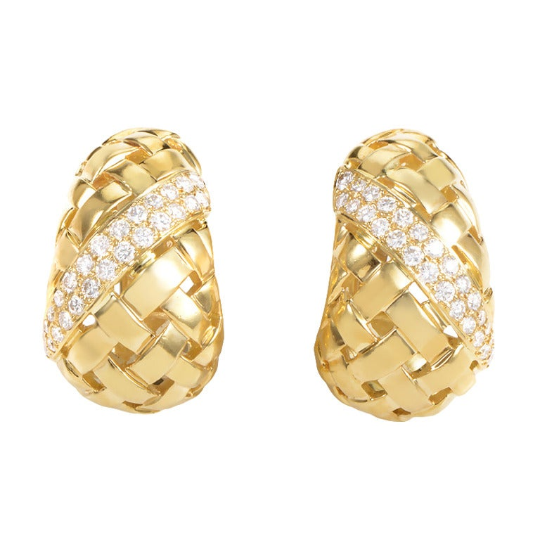 Tiffany and Co. Diamond Gold Basket Weave Clip-On Huggie Earring ...
