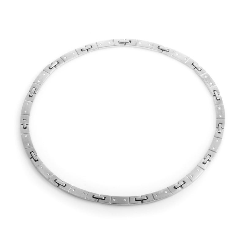 A simple collar of white gold is a classic design that is perfect for any occasion. This necklace from Tiffany & Co. is made of 18K white gold and is set with ~.35ct of diamonds.