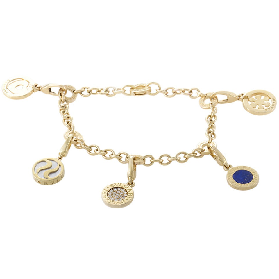 Bulgari Mother of Pearl Diamond Pave Lapis Lazuli Gold Charm Bracelet 1