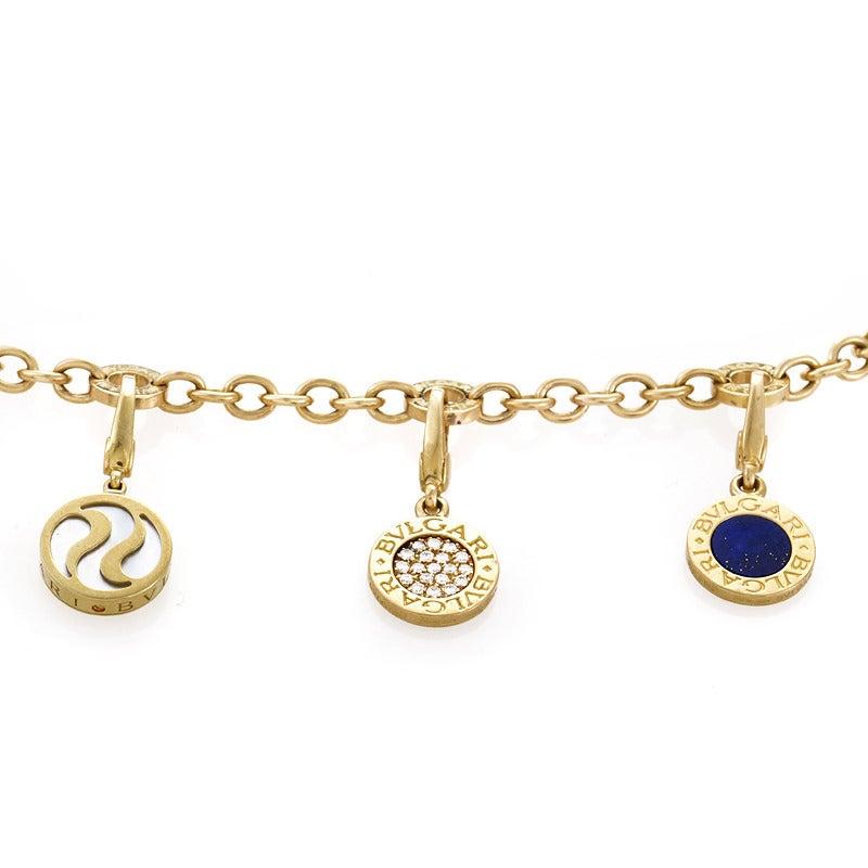Bulgari Mother of Pearl Diamond Pave Lapis Lazuli Gold Charm Bracelet 2