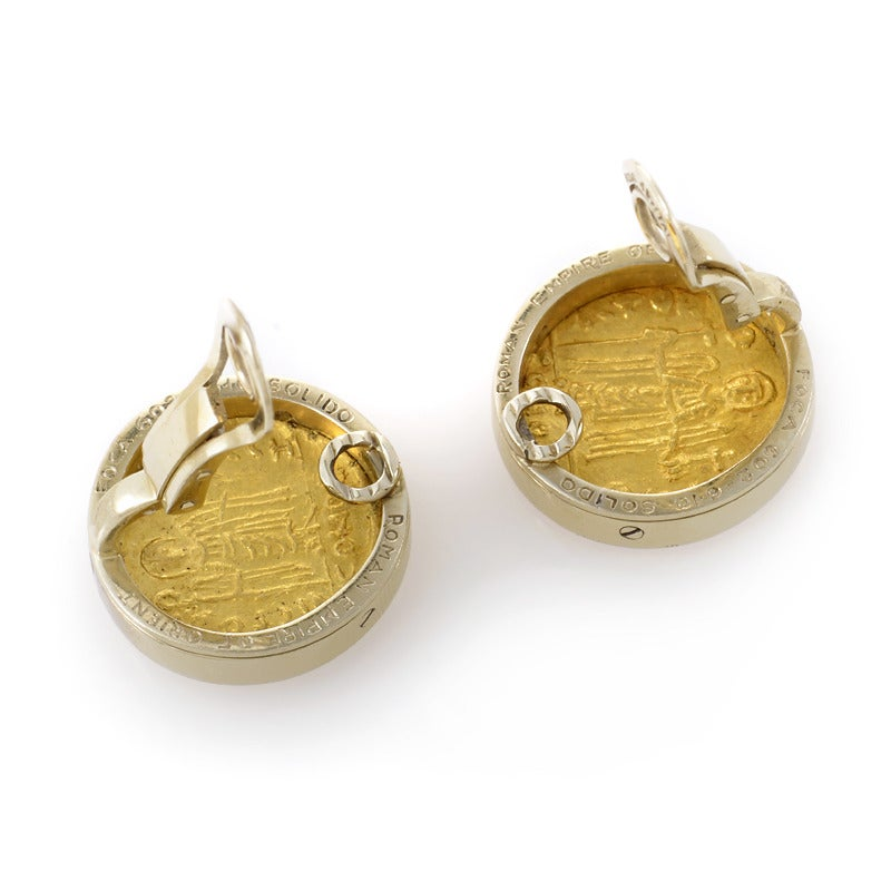 bulgari ancient gold coin clip on earrings at 1stdibs