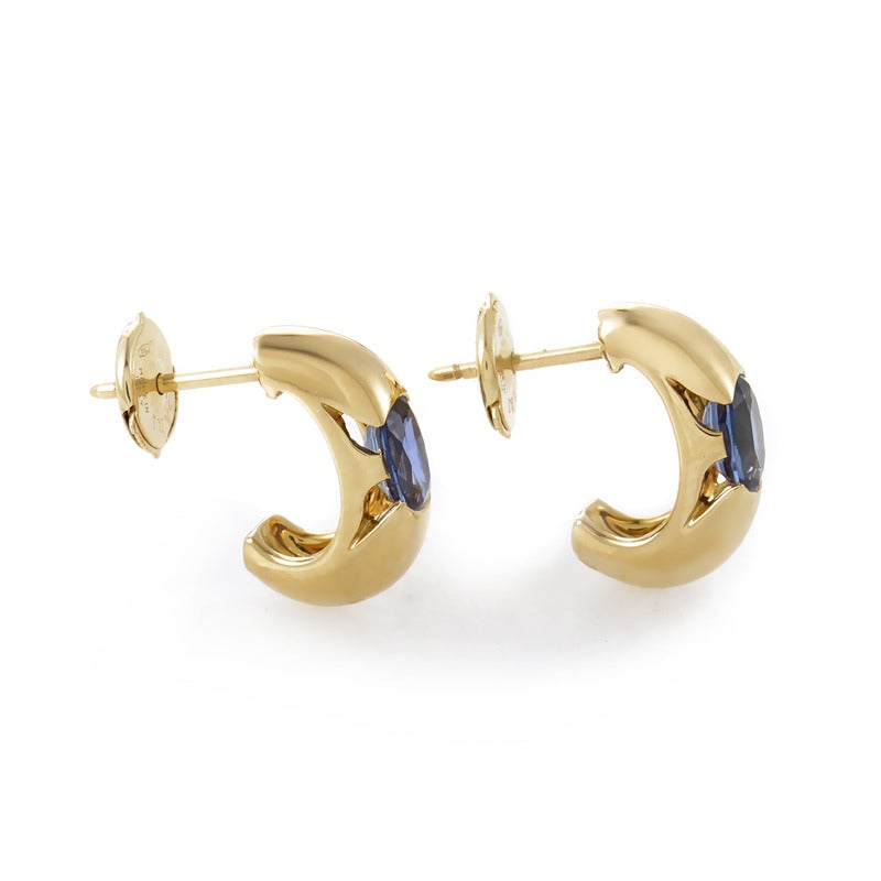 half hoops earrings bulgari sapphire yellow gold half hoop earrings at 1stdibs 8492