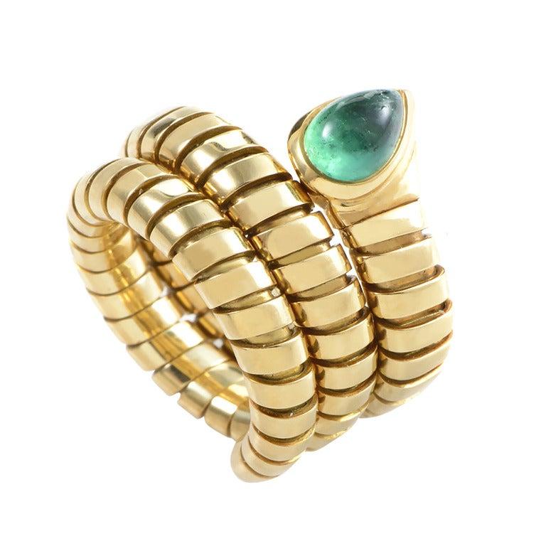 bulgari tubogas emerald gold snake ring 1
