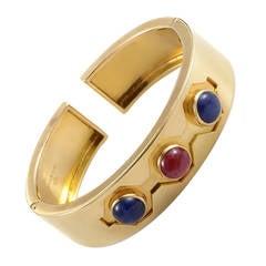 Bulgari Hinged Ruby Sapphire Gold Cuff