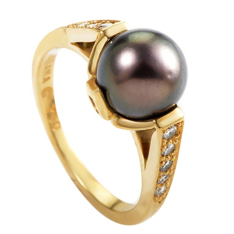 Kabana Black Pearl Diamond Gold Ring For Sale at 1stdibs