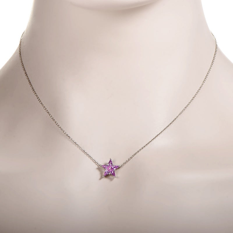 tiffany and co pink sapphire platinum star pendant