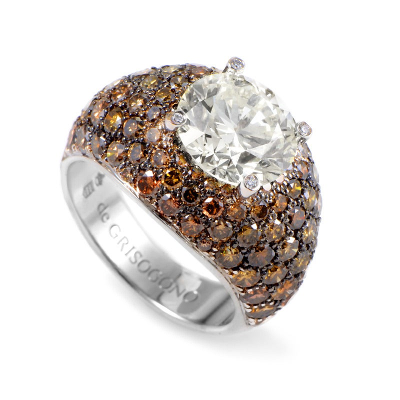 de Grisogono Brown and White Diamond Gold Ring at 1stdibs