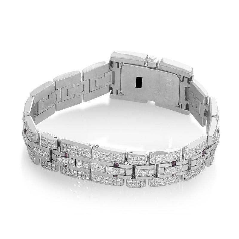 Women's Fred Ladies White Gold Diamond Ruby Bracelet Quartz Wristwatch For Sale