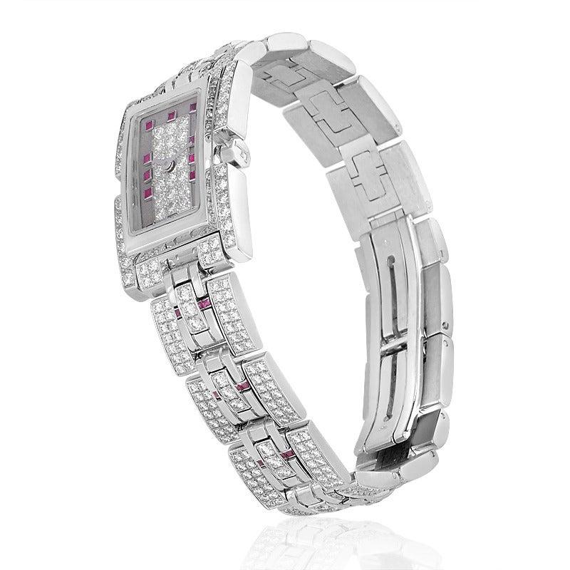 Fred Ladies White Gold Diamond Ruby Bracelet Quartz Wristwatch For Sale 1
