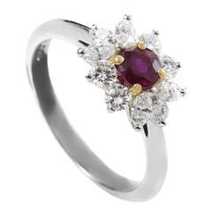 Tiffany & Co. Ruby Diamond Platinum Ring