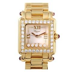 Chopard Lady's Yellow Gold and Diamond Happy Sport II Diamond Wristwatch